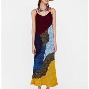 Zara Knit • NWT Limited Edit Color Block Maxi